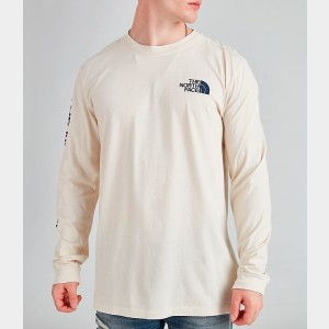 Black Friday 2021 Men's The North Face Printed Long-Sleeve T-Shirt White/Blue Sales