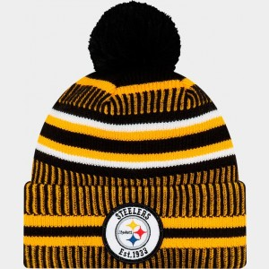 New Era Pittsburgh Steelers NFL Home Striped Sideline Beanie Hat Team Colors Sales