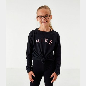 Girls' Nike Dri-FIT Trophy Long-Sleeve Training Shirt Black/Pink Gaze Sales