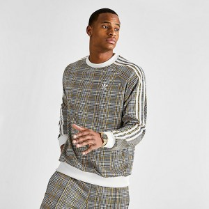 Men's adidas Originals Tartan Crewneck Sweatshirt Multicolor White Sales