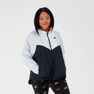 Women's Nike Sportswear Windrunner Jacket (Plus Size) White/Black Sales