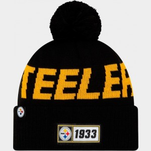 New Era Pittsburgh Steelers NFL Road Sideline Beanie Hat Black Sales
