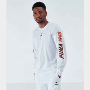 Men's Puma Luxe Long-Sleeve T-Shirt White Sales