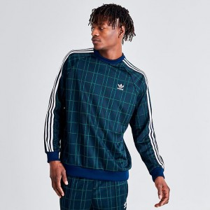 Men's adidas Originals Tartan Crewneck Sweatshirt Multicolor Navy Sales