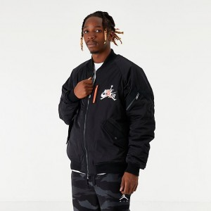 Men's Jordan Mashup Wings MA-1 Bomber Jacket Black Sales