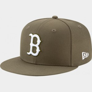 New Era Boston Red Sox MLB 9FIFTY Snapback Hat Olive Sales