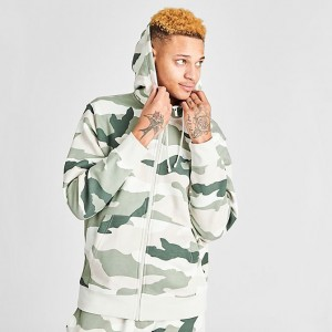 Men's Nike Sportswear Camo Club Fleece Full-Zip Hoodie Jade Horizon/Light Bone Sales