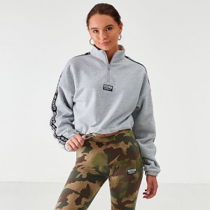 Women's adidas Originals Crop Half-Zip Top Light Grey Heather Sales