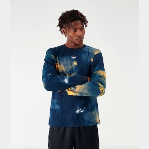 Men's adidas Originals Watercolor Graphic Long-Sleeve T-Shirt Legend Ink/Org Sales