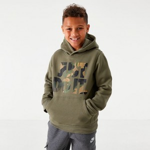 Boys' Nike Sportswear JDI Camo Club Fleece Hoodie Medium Olive Sales