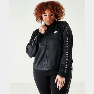 Women's Nike Air Satin Track Jacket (Plus Size) Black Sales