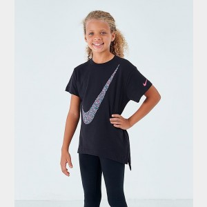 Girls' Nike Sportswear Swoosh T-Shirt Black Sales