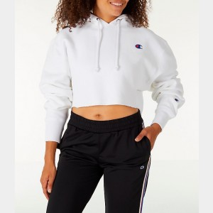 Women's Champion Reverse Weave Crop Hoodie White Sales