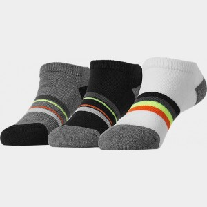 Kids' Finish Line 3-Pack No-Show Socks Black/Grey/Yellow/Orange Multi Stripe Sales
