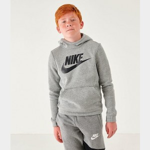 Kids' Nike Sportswear Club Fleece Hoodie Grey Heather/Black Sales