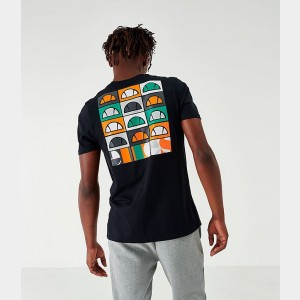 Men's Ellesse Fondato Back Hit T-Shirt Black Sales