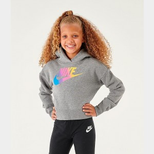 Girls' Nike Sportswear Cropped Hoodie Carbon Heather/White Sales
