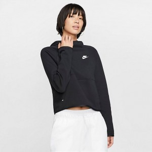Women's Nike Sportswear Tech Fleece Hoodie Black/Black/White Sales