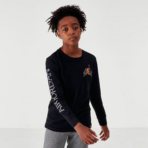 Boys' Jordan Mashup Classics Long-Sleeve T-Shirt Black/White Sales
