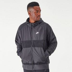Men's Nike Sportswear Winterized Fleece Full-Zip Hoodie Black Sales