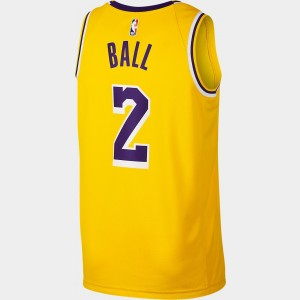 Men's Nike Los Angeles Lakers NBA Lonzo Ball Icon Edition Connected Jersey Amarillo Sales