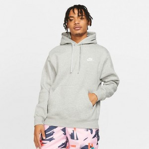 Men's Nike Sportswear Club Fleece Embroidered Hoodie Dark Grey Heather/Matte Silver/White Sales