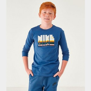 Boys' Nike Sportswear Graphic Long-Sleeve T-Shirt Mystic Navy/Sail Sales
