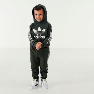 Boys' Infant and Toddler adidas Originals Lock Up Trefoil Hoodie and Pants Set Green/White Sales