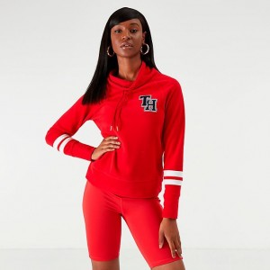 Women's Tommy Hilfiger Funnel Neck Fleece Sweatshirt Red/White Sales