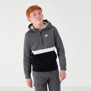 Boys' Nike Club Half-Zip Hoodie Charcoal Heather Sales