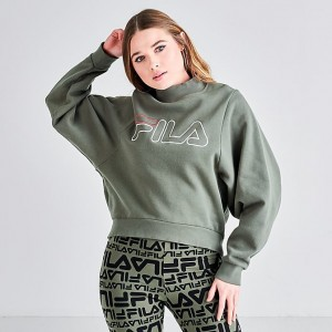 Women's Fila Hanami Logo Sweatshirt Dusty Olive Sales