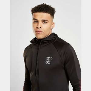 Men's SikSilk Athlete Fade Panel Full-Zip Hoodie Black Sales