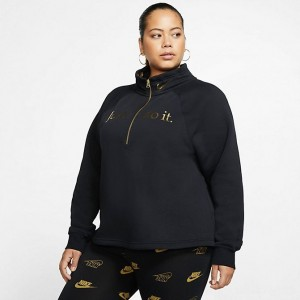 Women's Nike Sportswear Shine Half-Zip Fleece Top (Plus Size) Black/Black/Metallic Gold Sales