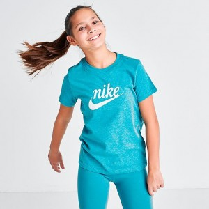 Girls' Nike Sportswear Script Swoosh T-Shirt Photo Blue Sales