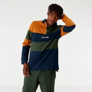 Men's Timberland Archive Long-Sleeve Polo T-Shirt Spicy Orange/Green/Navy Sales