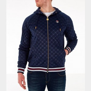 Men's Fila Royce Full-Zip Hoodie Navy/Red Sales