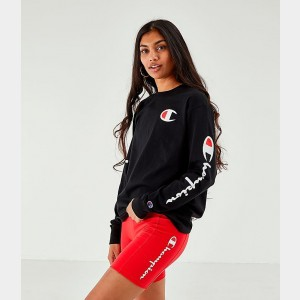 Women's Champion Long-Sleeve T-Shirt Black Sales