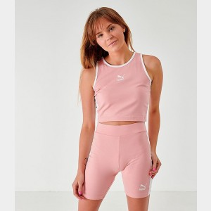 Women's Puma Classics T7 Cropped Tank Bridal Rose Sales