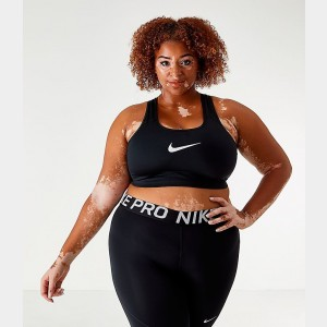 Women's Nike Swoosh Medium-Support Sports Bra (Plus Size) Black/White Sales