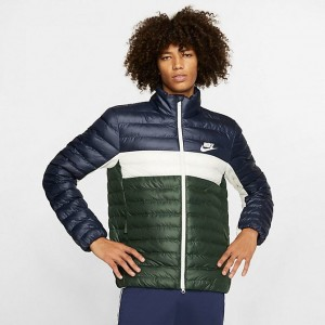 Men's Nike Sportswear Syn Fill Bubble Puffer Jacket Navy/Green/White Sales