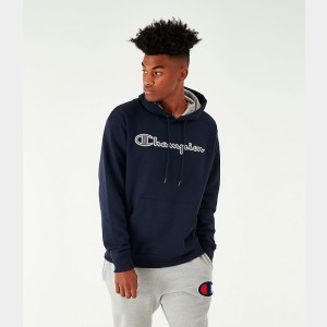 Men's Champion PowerBlend Script Logo Hoodie Navy Sales