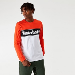Men's Timberland Linear Logo Long-Sleeve T-Shirt Spicy Orange/White Sales