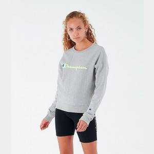 Women's Champion Reverse Weave Crew Sweatshirt Oxford Grey Sales