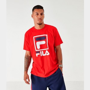 Men's Fila Stacked T-Shirt Red/Navy/White Sales
