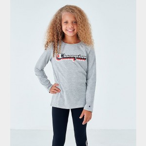 Girls' Champion Script Logo Long-Sleeve T-Shirt Grey Heather Sales