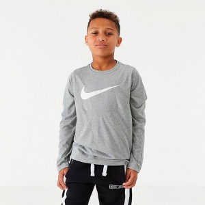 Boys' Nike Dri-FIT Long-Sleeve Training T-Shirt Dark Grey Heather Sales