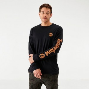 Men's Timberland Arm Hit Logo Long-Sleeve T-Shirt Black/Wheat Sales