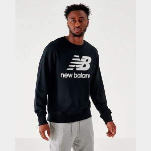 Men's New Balance Essentials Stacked Logo Crewneck Sweatshirt Black Sales