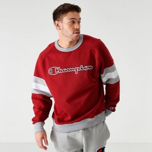 Men's Champion Arm Stripe Crewneck Sweatshirt Cherry Pie/Grey/White Sales