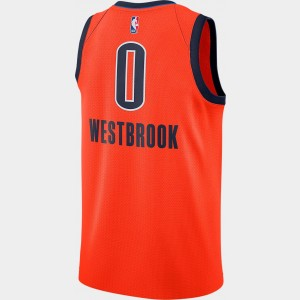 Men's Nike Oklahoma City Thunder NBA Russel Westbrook Earned Edition Swingman Jersey Orange Sales